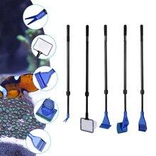 Aquarium Tank Cleaner Set Fish Net Gravel Rake Algae Scraper Fork Sponge Brush Curve Glass Cleaner Scrubber Tool
