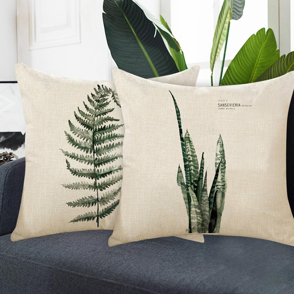 Pillowcase Tropical Plant Rainforest Fern Shape Linen Printed Green Leaves Cushions Pillowcase Sofa Cushion Pillows Cover