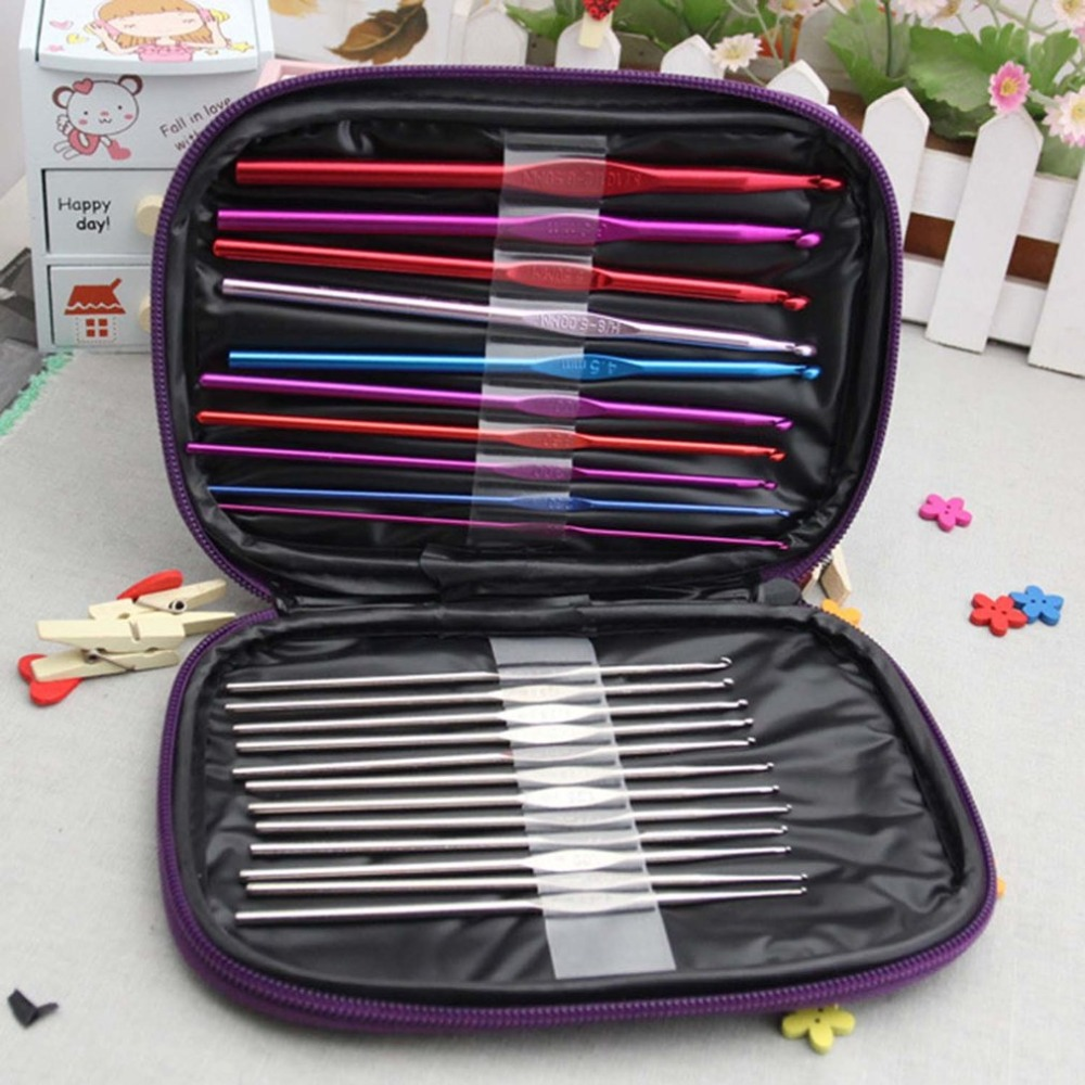 22 Pcs/Set Ergonomic Multi Colour Stainless Steel Crochet Hooks Yarn Knitting Needles 2-8mm Sewing Tools with Case Dropshipping