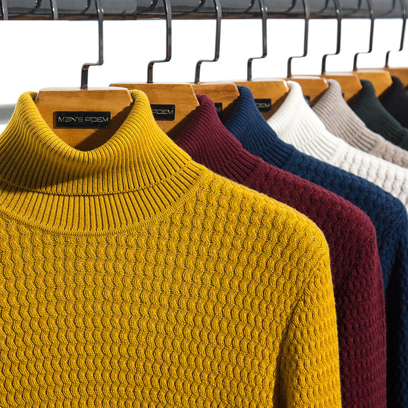 2020 Autumn Winter Men's Turtleneck Sweater Fashion Casual Slim Pullovers Sweaters Male Brand Clothes 8 Colors