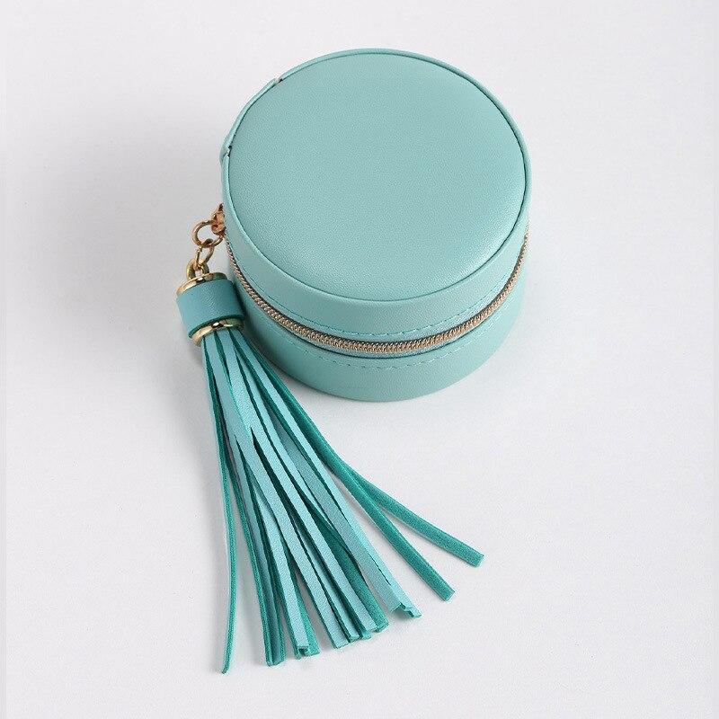 Portable Pu round Zipper Earrings Stud Earrings Storage Box Jewelry Storage Small Jewelry Box Jewelry Box storage drawers