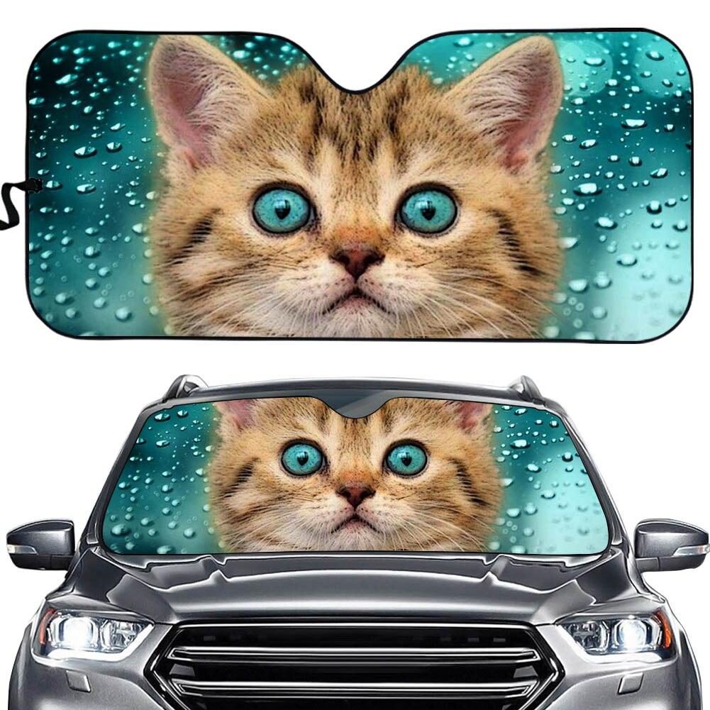 INSTANTARTS 3D Animal Cat Design Car Sun Shade Windshield Car Sun Shade for Windshield Cars Heat Reflector Car Sunshade Cover