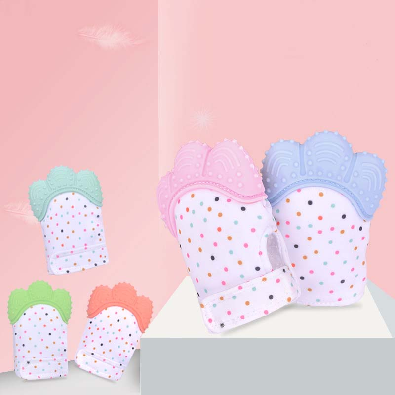 1PC Colorful Baby Teethers BPA Free Panda Toddler Teething Toys Cute Dog Pattern Glove Wrapper Sound Chewable Gifts