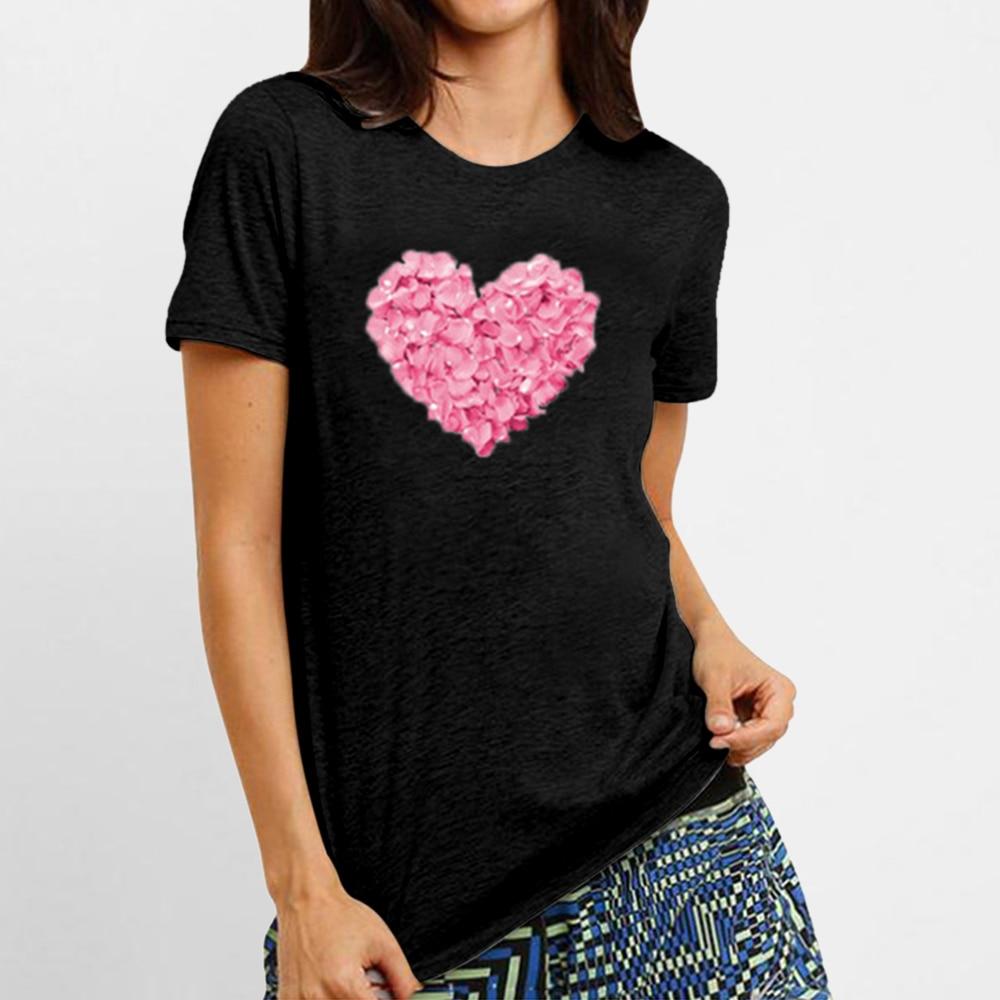 Heart Print T Shirt Women  2