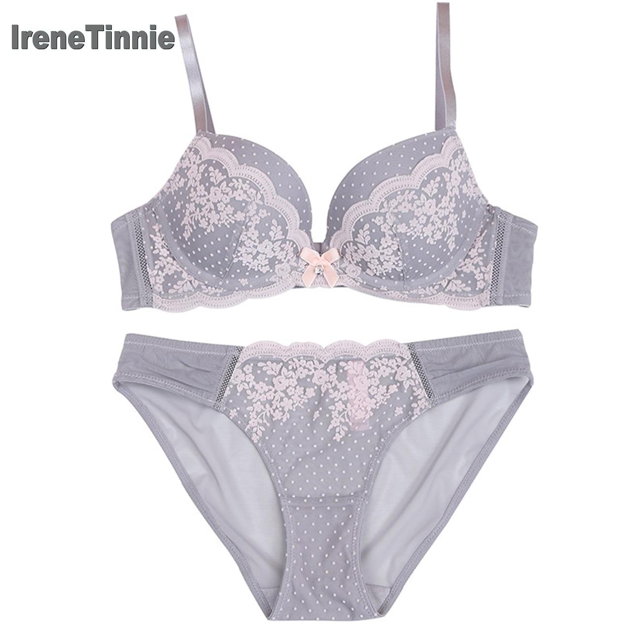 IRENE TINNIE, сексуальный комплект из бюстгальтера и трусиков, в горошек, с кружевным бантом, пуш ап, комплект нижнего белья, регулируемый плечево