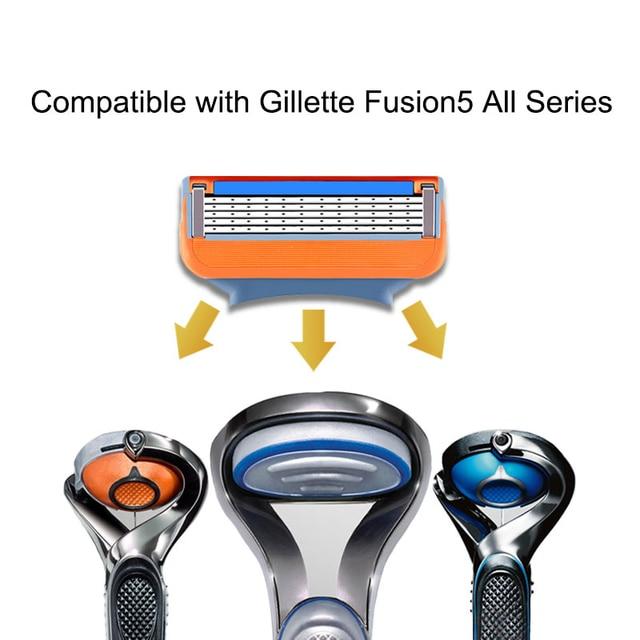 4 pièces/lot Excellent rasage 5 couches lames de rasoir Compatible pour Gillette Fusion pour hommes soins du visage ou mâché 3