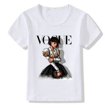 VOGUE Princess Print Girls T Shirt Cartoon Funny Casual Kids Clothes Summer Harajuku White Baby T-shirt Modal Little Girls Tees