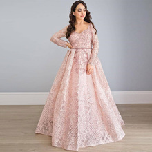 Elegant Blush Pink Lace Embroidered Long Sleeve Evening Dresses V Neck Rhinestones Beads Formal Evening Gown Blue