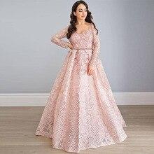 Élégant Blush rose dentelle brodé à manches longues robes de soirée col en V strass perles formelle robe de soirée bleu