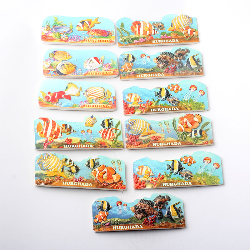 3D Fridge Magnet Souvenir Home Decor Hurghada Red Sea FIsh  Resin Refrigerator Magnetic Sticker Kitchen Decoration Accessories