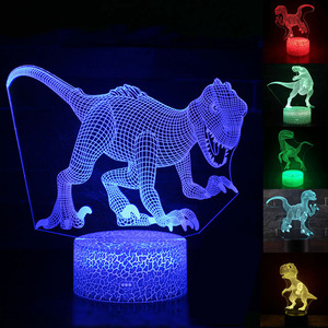 Dinosaur 3D Illusion 7 Colors LED Touch Sleeping T-rex unicorn Animal Night Light baby room lamp Glow In The Dark Toy Kid Gift
