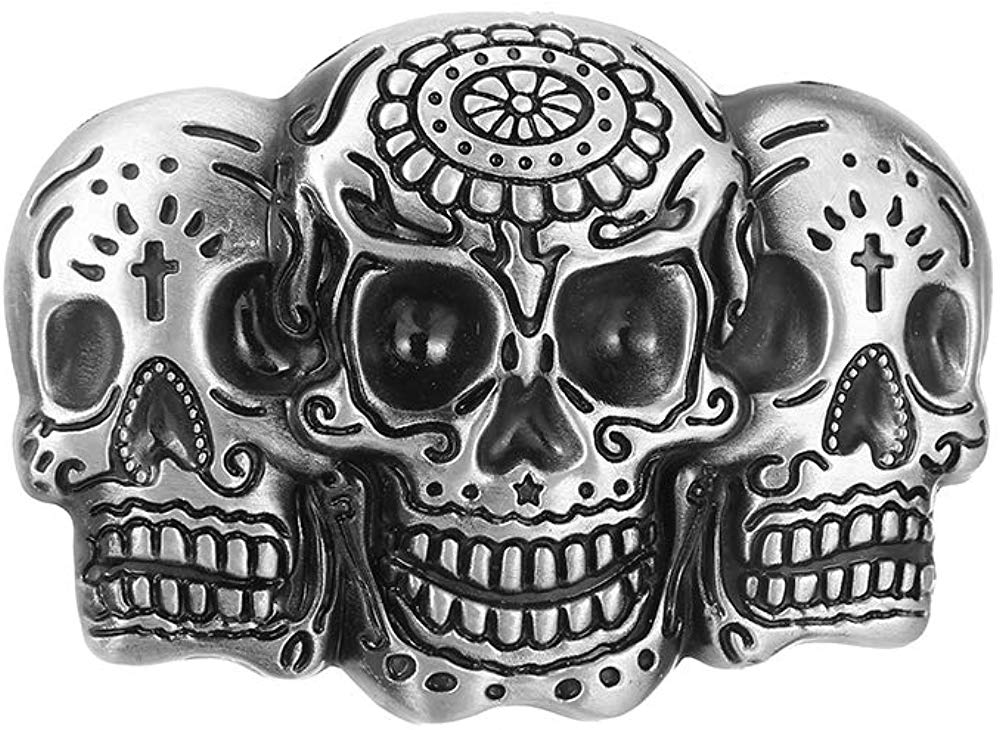 Three Skull Heads Buckle For Man Western Cowboy Buckle Without Belt Custom Alloy Width 4cm