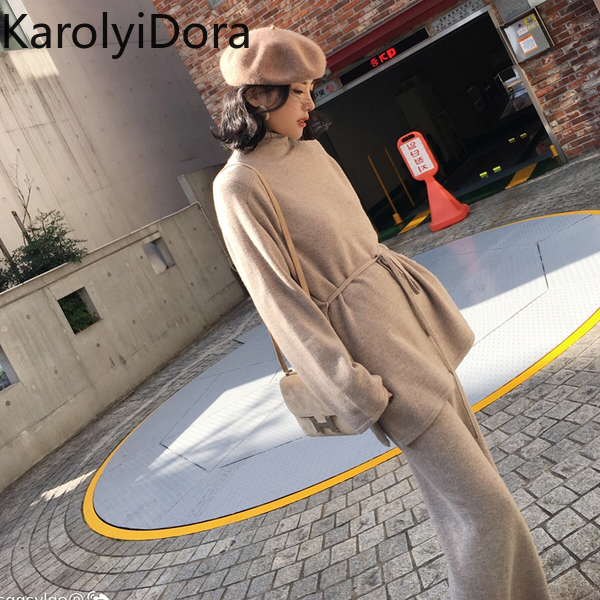 2019 Winter Utumn Winter Knitted Women Suit 2 Piece Set Solid Color Turtleneck Sweater Knitted Pants Suit Pullover Sets