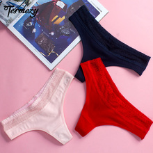 все цены на TERMEZY Women Soft Underwear Lingerie Sexy Lace cotton Panties G-String Thongs Solid Panty Seamless Briefs Breathable Panties