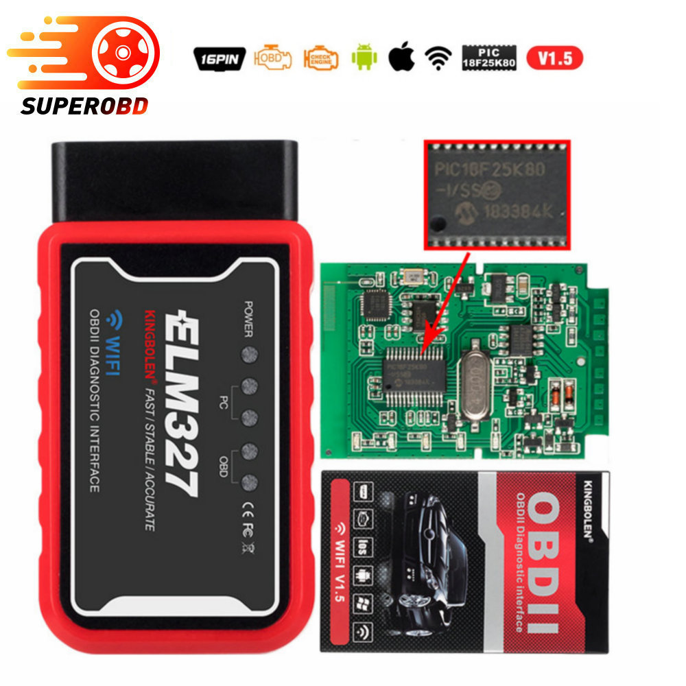 ELM327 WiFi Bluetooth V1.5 PIC18F25K80 Chip OBDII <font><b>Diagnostic</b></font> Tool For IPhone/Android/PC <font><b>ELM</b></font> <font><b>327</b></font> V 1.5 Auto <font><b>Scanner</b></font> Torque OBD image
