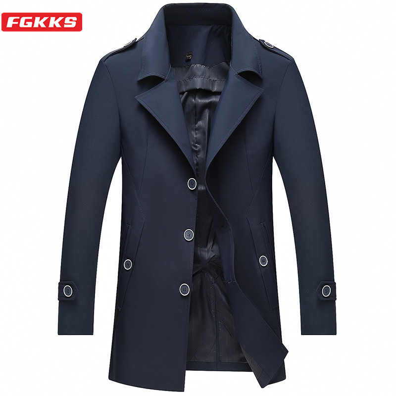 FGKKS Men Trench Coats Autumn Solid Color Men Business Casual Warm Jacket Single Breasted Wrinkle Resistance Trench Coat Male