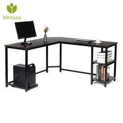 L şekilli masa raflar ile 59 inç köşe bilgisayar masası CPU standı ile, ev ofis oyun masa iş istasyonu çalışma yazı masası