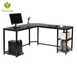 L Berbentuk Meja dengan Rak 59 Inch Sudut Meja Komputer dengan CPU Berdiri rumah Kantor Gaming Table Workstation Belajar Meja Tulis