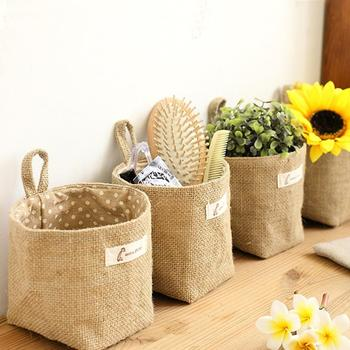 Home Decor Hanging Pocket Storage Basket Small Sack Sundries Organizer Cosmetic Cotton Linen Bag - discount item  30% OFF Home Storage & Organization