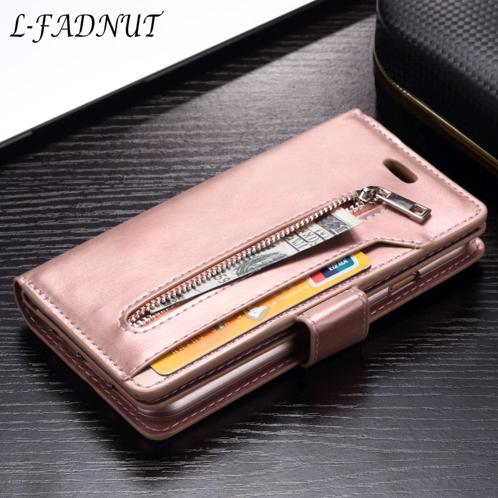 L-FADNUT For iPhone X Xr Xs Max Vintage Zipper Wallet Case Flip Holder Leather Cover For iPhone 8 7 6S 6 Plus 5 5S SE Coque Capa