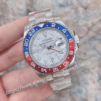 GMT 40mm Meteorite dial Sapphire Glass Ceramic Bezel Date Luminous Automatic mechanical Movement men's Watch цена 2017