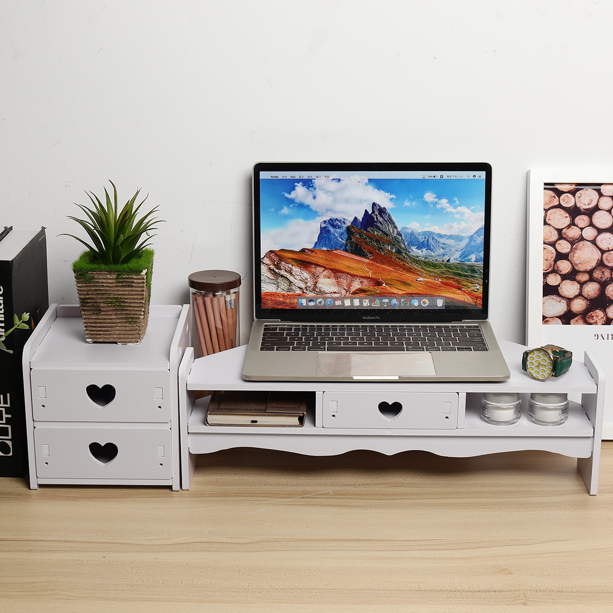 Home Office Computer Monitor Riser Laptop PC Stand Drawers Set Monitor Holder Screen Shelf Lapdesk Table Storage Organizer
