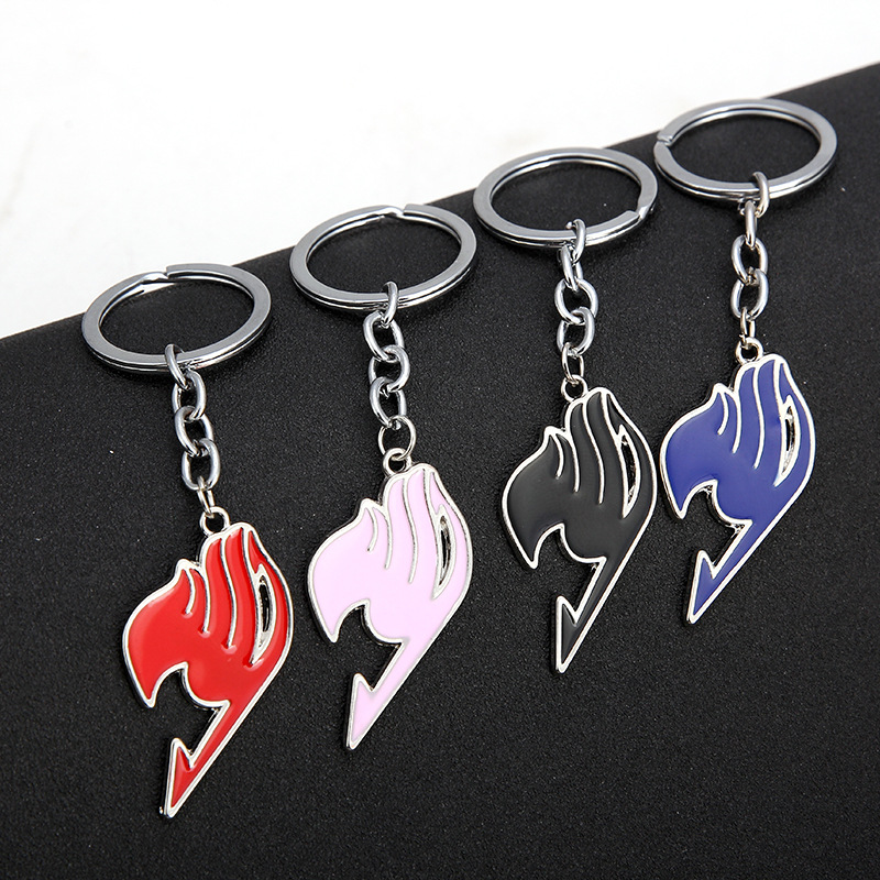 Anime Fairy Tail Keychain Tattoo Badge Enamel Cartoon Keyring Key Chain Ring Fashion Cosplay Accessory Cool Gifts Metal