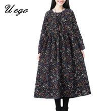 Uego 2021 New Arrival Spring Dress Cotton Linen Long Sleeve Print Floral Vintage Dress Plus Size Women Casual Midi Autumn Dress