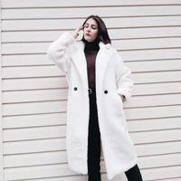 Herbst Winter Frauen Beige Teddy Mantel Stilvolle Weibliche Dicke Warme Kaschmir Jacke Casual Mädchen Streetwear