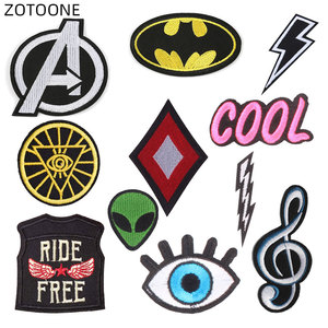 ZOTOONE Iron on Patches for Clothing Jeans Embroidered Letter Alien Patches for Kids DIY Stripe Stickers Note Appliques Badges E