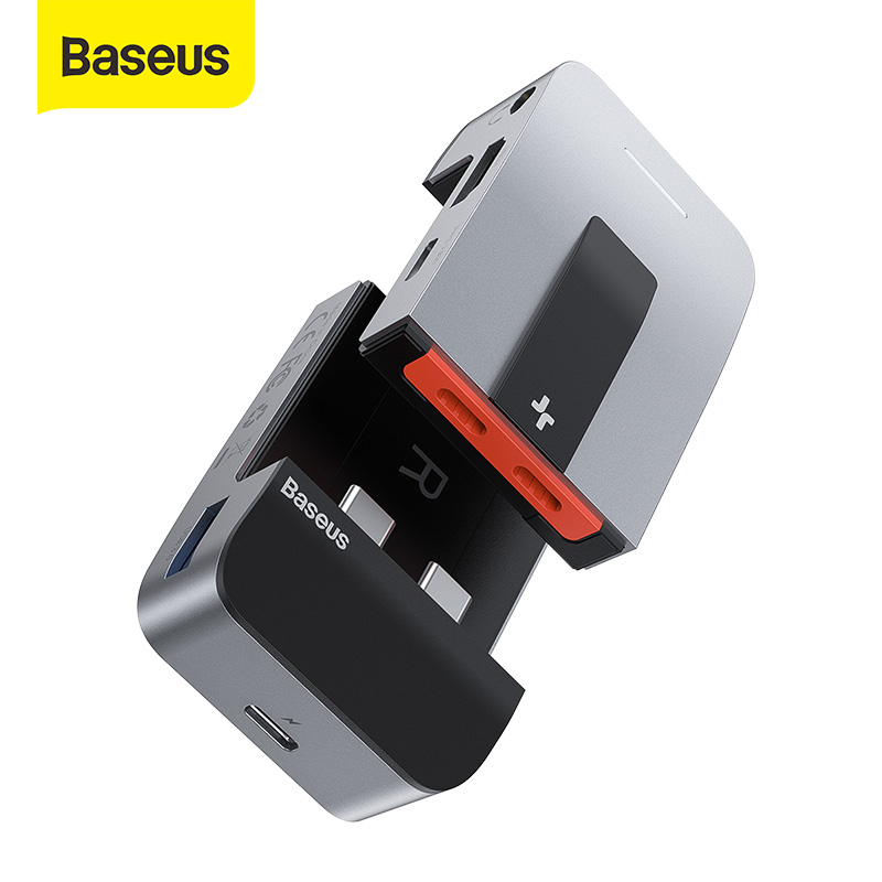 Baseus USB C HUB to HDMI USB 3.0 USB HUB for MacBook Pro Thunderbolt 3 USB Splitter Combined RJ45 Holder 9 in 1 Type C HUB(China)