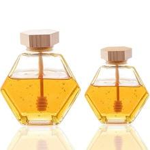 220ML/380ML Glass Honey Jar with Bamboo Honey Stick Spoon Mini Small Honey Bottle Container Pot Honey Storage