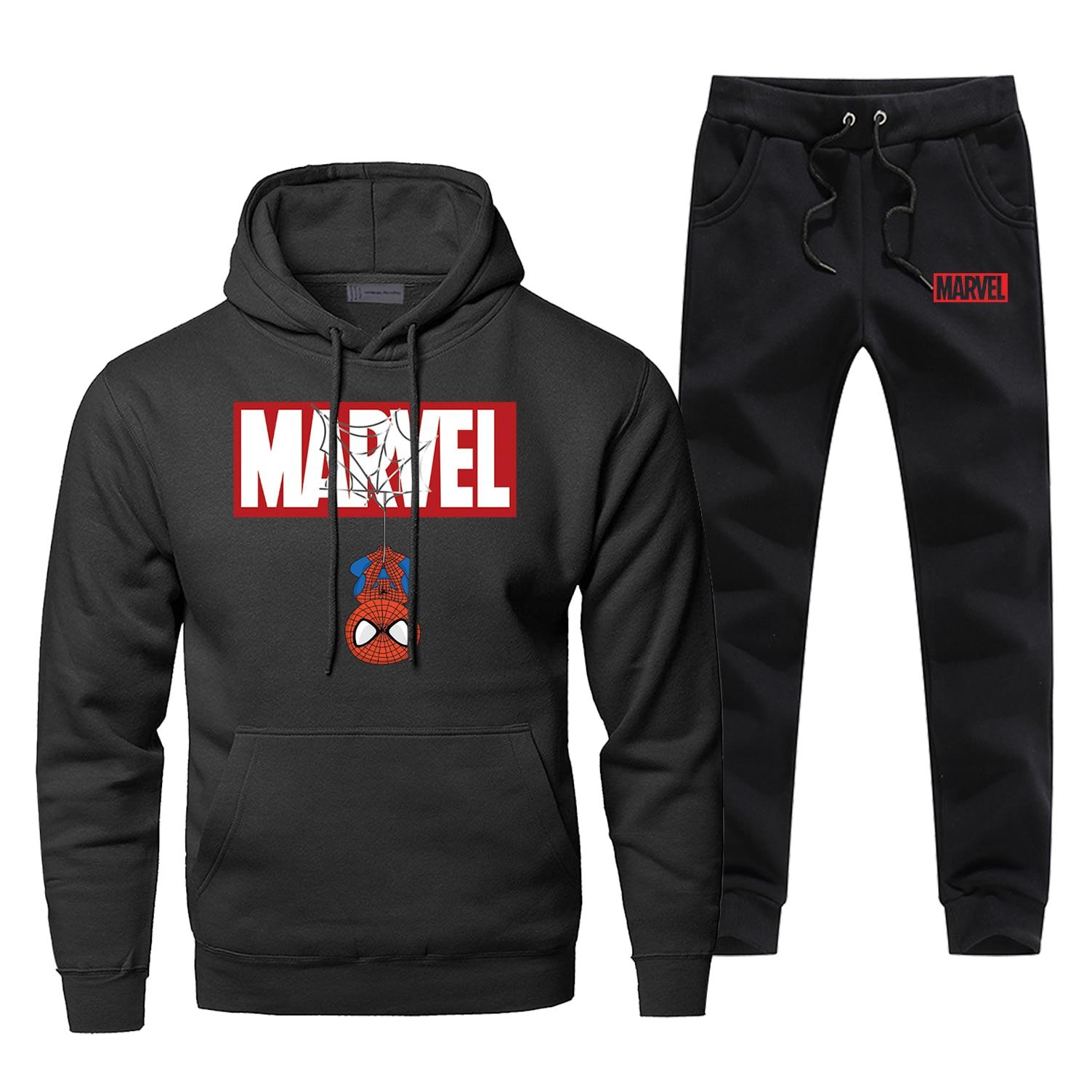 Spider-Man Super Hero 2 Piece Set 2019 Fashion Winter Streetwear Hoodies Sweatpants Fashion Fleece Casual Complete Man Tracksuit