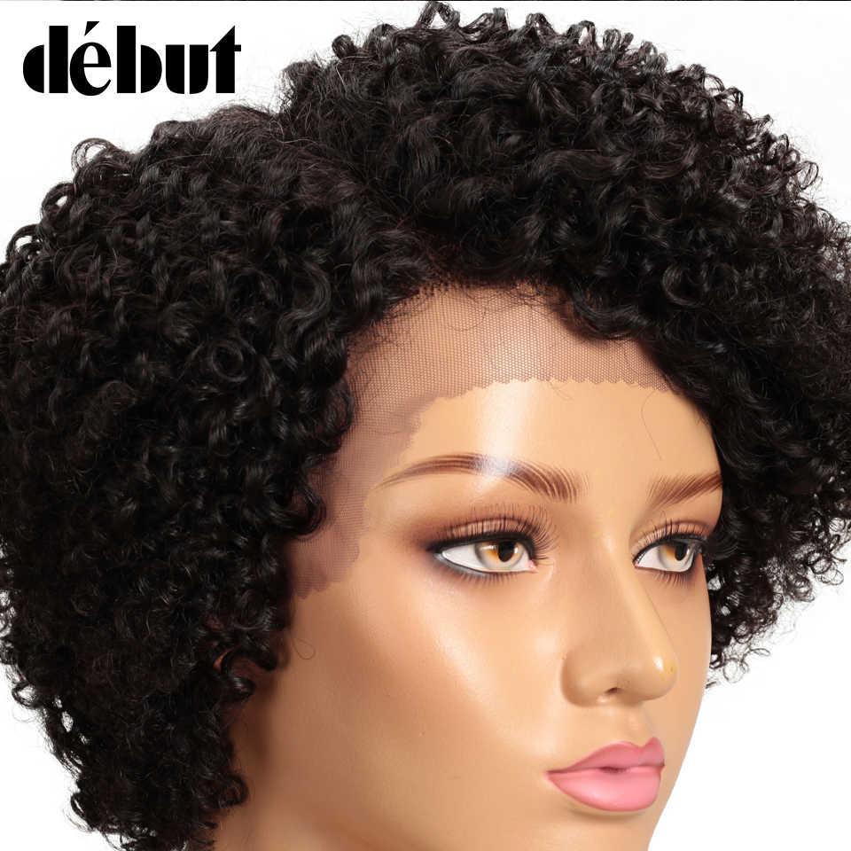Częściowo koronka przodu peruka z krótkim bobem Afro perwersyjne kręcone ludzkie włosy peruki wstępnie oskubane bielone węzły Remy debiut ludzki włos koronkowa peruka na przód