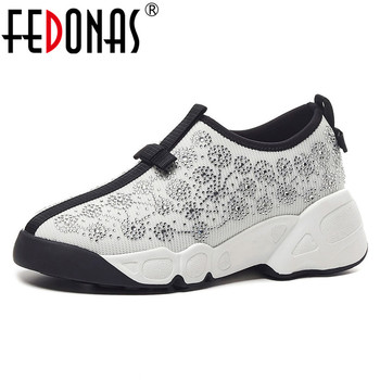 FEDONAS Spring Autumn Women Flats Mesh Crystal Round Toe Casual Shoes Woman 2020 Classic Platforms Shoes Comfortable Sneakers