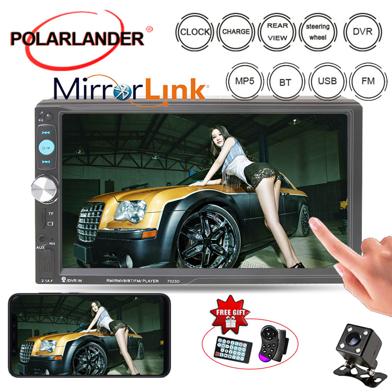 2 Din <font><b>7023D</b></font> 7'' Car Radio 10 Languages Mirror Link Audio Stereo Mutimedia MP3/MP4/MP5 player With Rear View Camera Bluetooth image