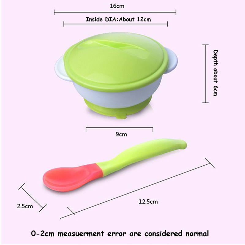 Купить с кэшбэком Baby Learning Dishes With Suction Cup Baby Tableware Assist Food Bowl Temperature Sensing Spoon Baby Tableware Food Containers