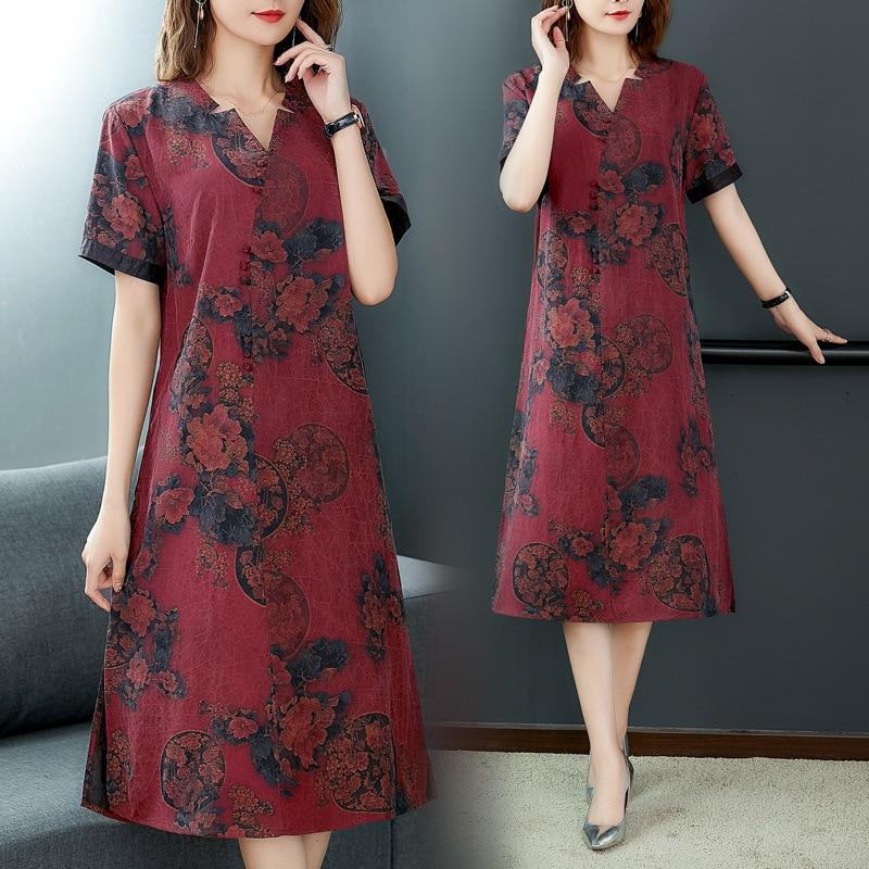 Nr6214 Hangzhou Real Silk Mulberry Silk Dress 2019 Summer New Style Women's Loose Sundress Korean-style Buttercup Silk Printed