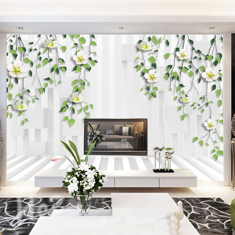 Living Room Television Background Wall Wallpaper TV Wall Modern Flower 3D Seamless Wall Cloth Wallpaper Large Mural Cloth