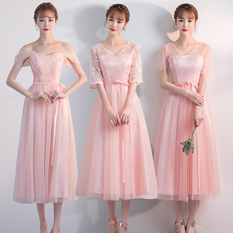Tea-length Tulle Plus Size Pink Bridesmaid Dress Elegant Embroidery Junior Guest Wedding Party Dress V-neck Graduation Sexy Prom