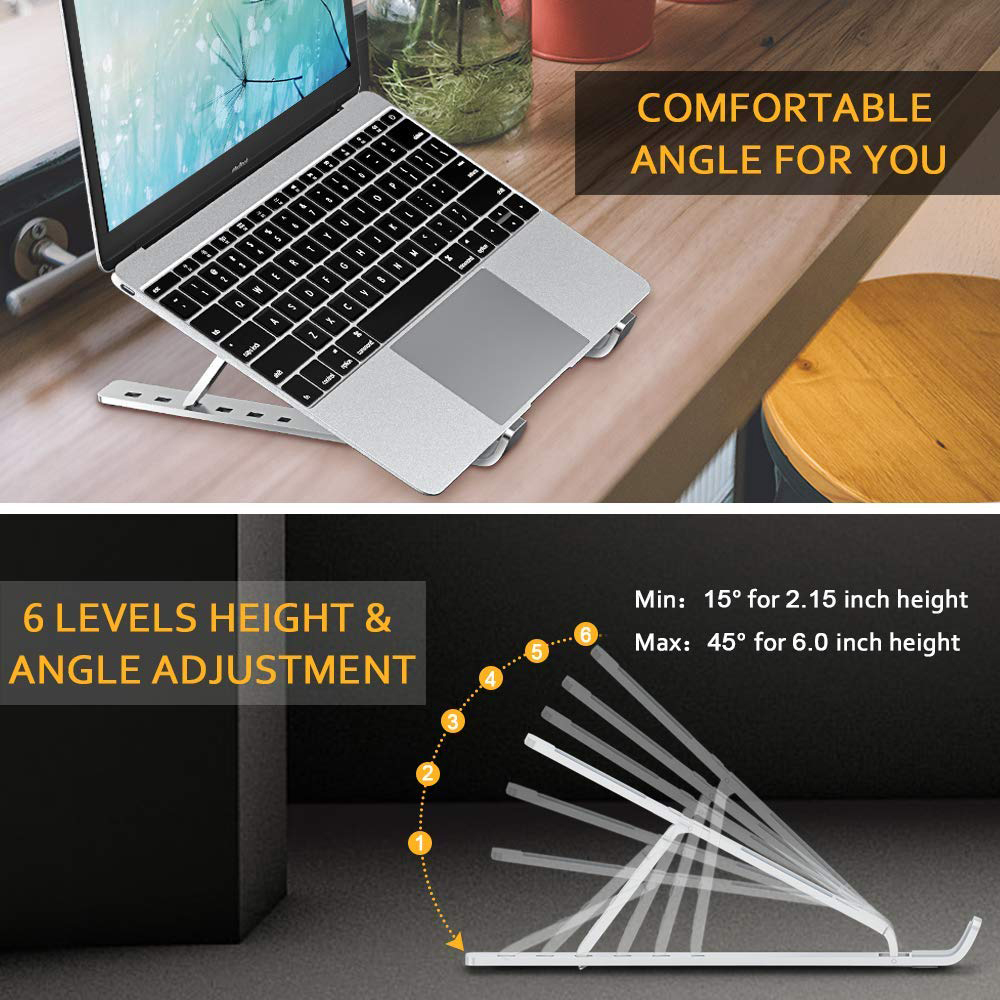 lowest price Height Adjustment Laptop Stand For Macbook Pro Notebook Support 360 Degree Rotating Bottom Computer Stand Riser Cooling Pad