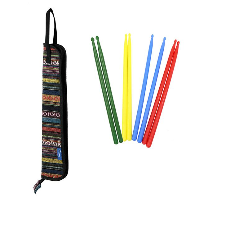 Stick-Bag Case-Holder Strap Drum Mallets-Brushes with for Ethnic-Style Colorful