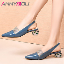 ANNYMOLI Woman Slingbacks Pumps Real Leather Shoes Strange Style Heels Pumps Pointed Toe Med Heel Shoes Crystal Lady Footwear 41 цена 2017