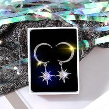 South Korea S925 Silver Needle Earrings Stars  Asymmetric Europe and America Simple Long Tassel Women