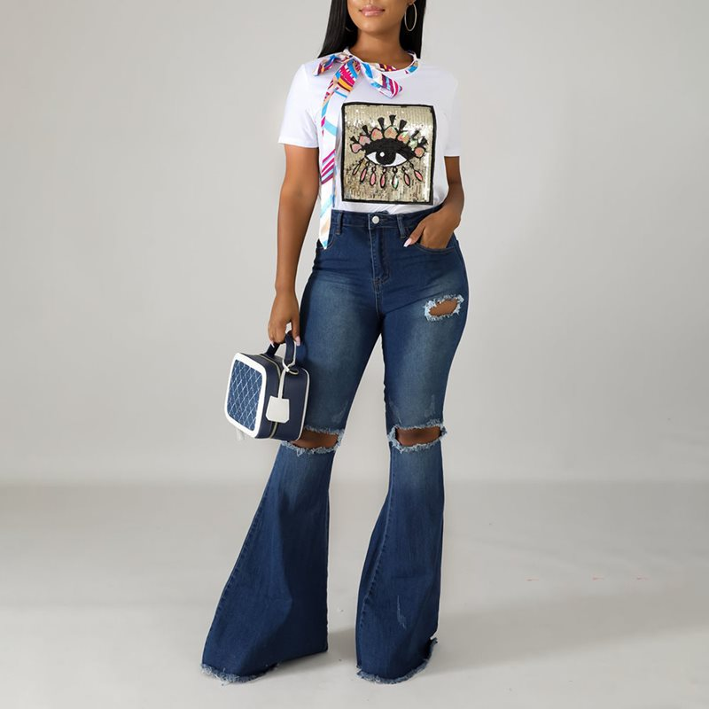 High Waist Jeans Woman Vintage Push Up Skinny Flare Ripped Jeans For Women Crochet Pants With Holes Bell Bottom Trousers Denim