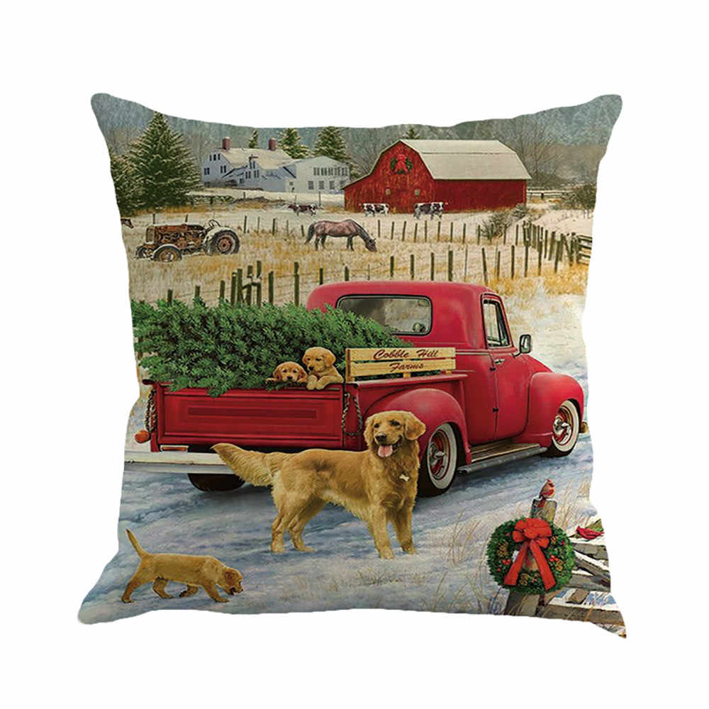 Christmas Red Truck 45x45cm Cushion Cover Christmas Tree Decor Family Living Room Chair New Year Linen Print Pillow Cases #10