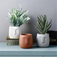 Nordic Creative Abstraction Human Face Dull Polish Ceramics Vase Coffee Shop Entryway Desktop Decoration Flower Pot X2591