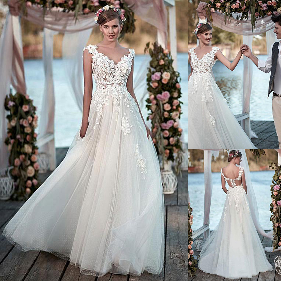 Junoesque Tulle Bateau Neckline A-line Wedding Dresses See Through Beach Bridal Dress Vestido Noiva Princesa