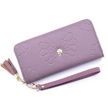 Puimentiua Women Wallet Long Clutch Fashion Tassel Zipper Money Bag Capacity Coin Purse Card Holder Phone Wallet Ladies Purses