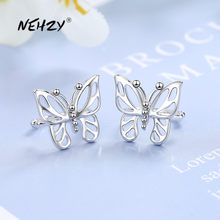 NEHZY925-pendientes de plata de ley 2021 para mujer, joyería de moda para mujer, clip de oreja de alta calidad, aretes de mariposa retro simples de circonita de cristal